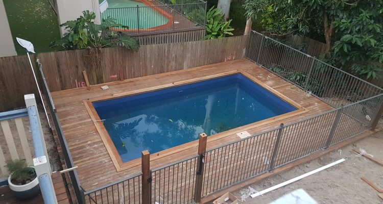 Pool & deck build completed, we finished off the coping around the pool with some framing hardwood boards that were a little wider than the standard decking, which really polished things up. The client is completing the landscaping on this one, turfing around the sides of the deck.