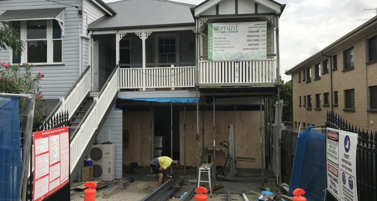 PROGRESS PHOTO - Changing the double remote garage doors to become one larger garage space with one large remote controlled door. Due to previous poor building works, structural damage to the front of the house from water retention had occurred, and so major steel works were required to ensure the structural integrity of the building was rectified and maintained into the future.