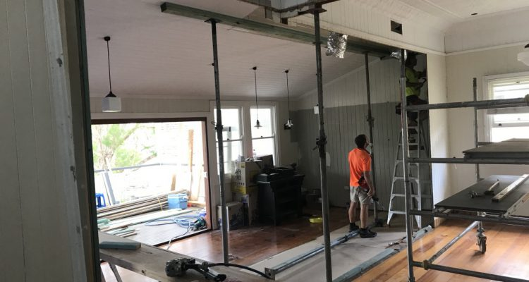PROGRESS PHOTO - Removal of an internal load bearing wall to create a larger and more open plan kitchen/dining/entertaining space.