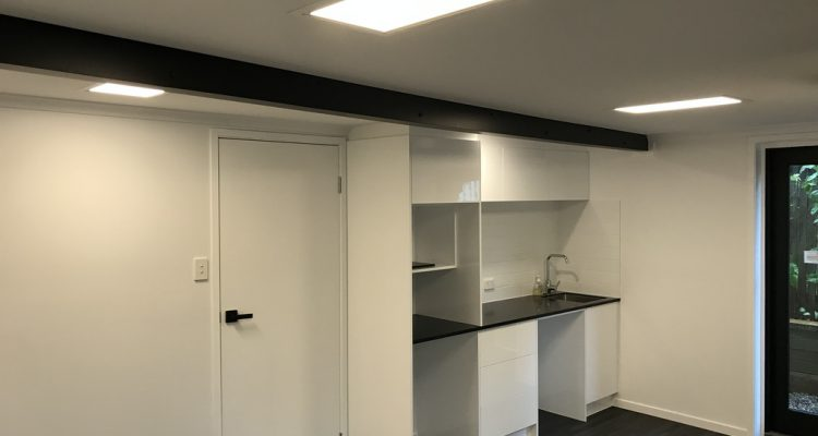 A kitchenette was installed to increase the functionality of the office area.